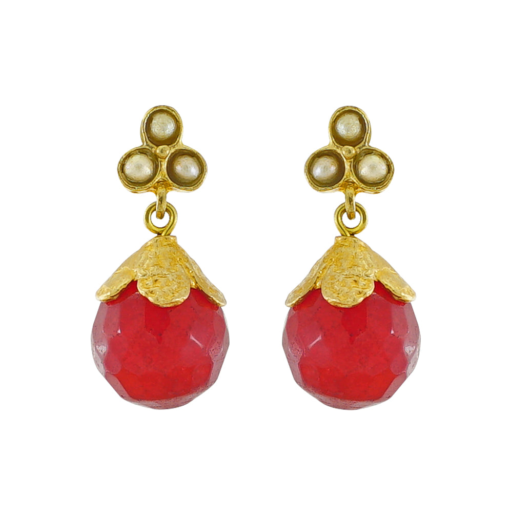 Golden Earrings w/ Agate Stone & Cultured Pearls