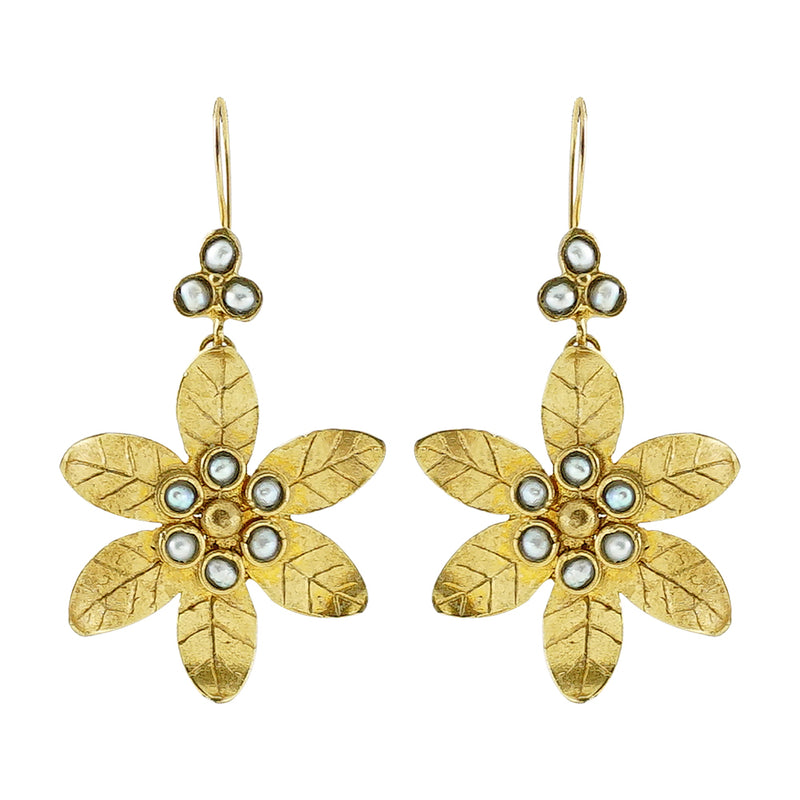 Golden Flower Earrings w/ Freshwater Pearls