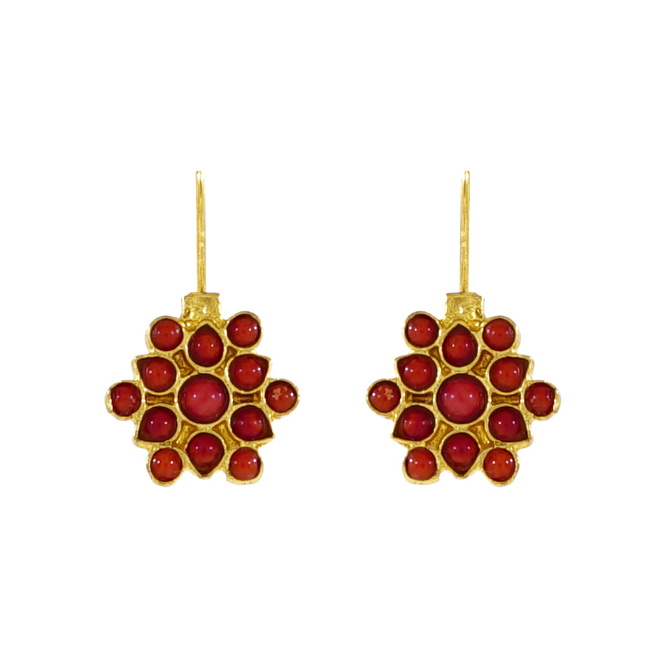 Golden Earrings w/ Red Stones