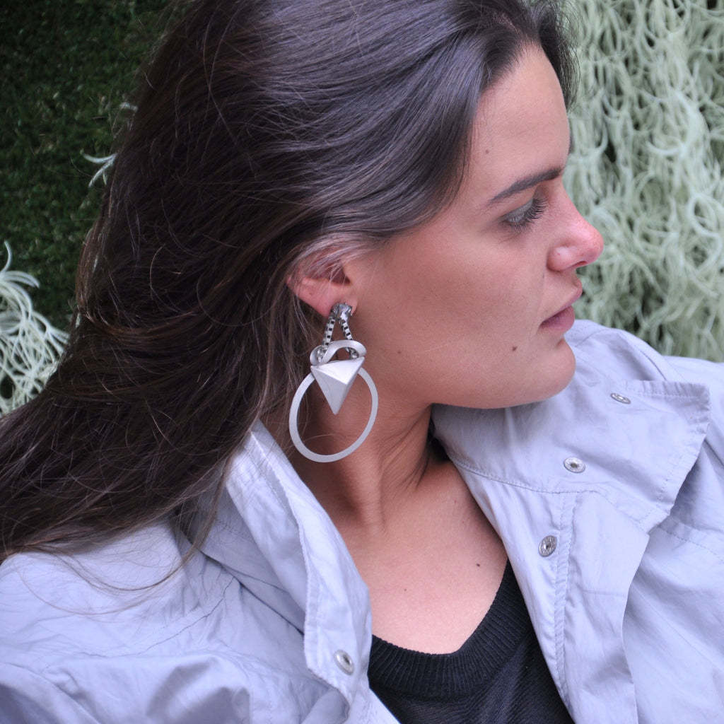 Silver Earrings with Crystal
