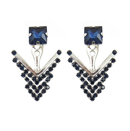 Silver & Blue Crystals Earrings