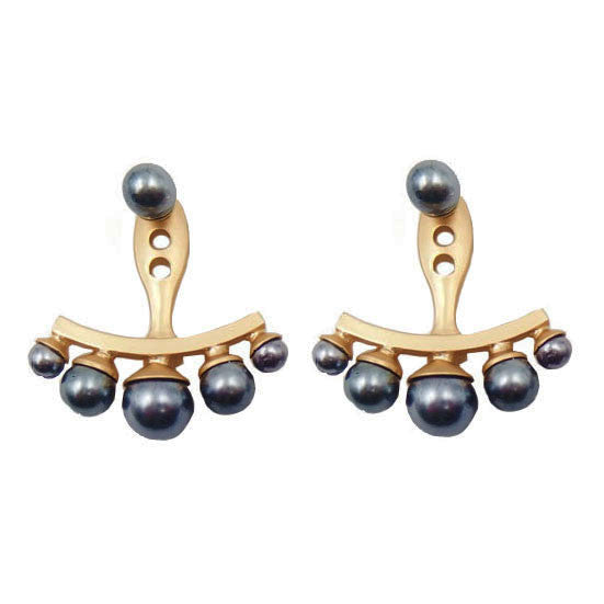 Gold Earrings with Dark Grey Pearls