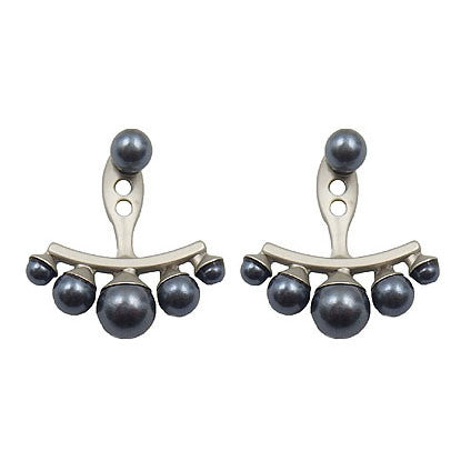 Silver Earrings with Dark Grey Pearls