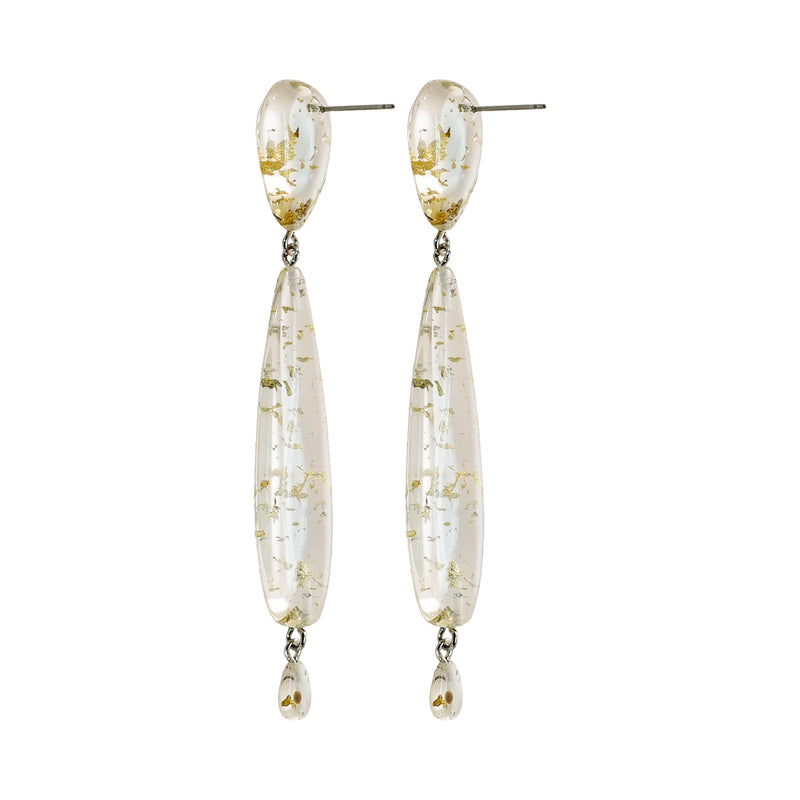 Transparent Earrings w/ Gold Details