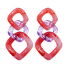 Red & Violet Transparent Earrings