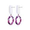 White Earrings w/ Multicolor Hoop