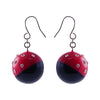 Red & Black Earrings w/ Crystals