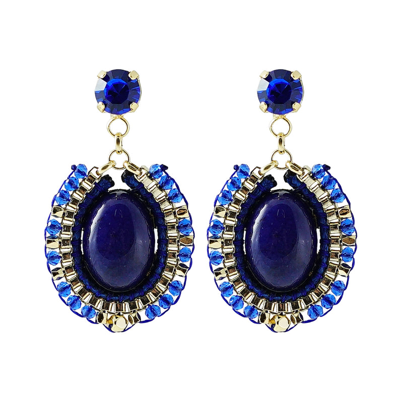 Blue Crystal Earrings w/ Stone