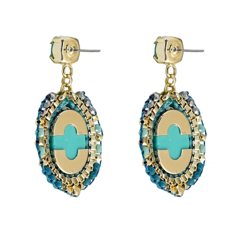Turquoise Earrings w/ Crystals & Stone