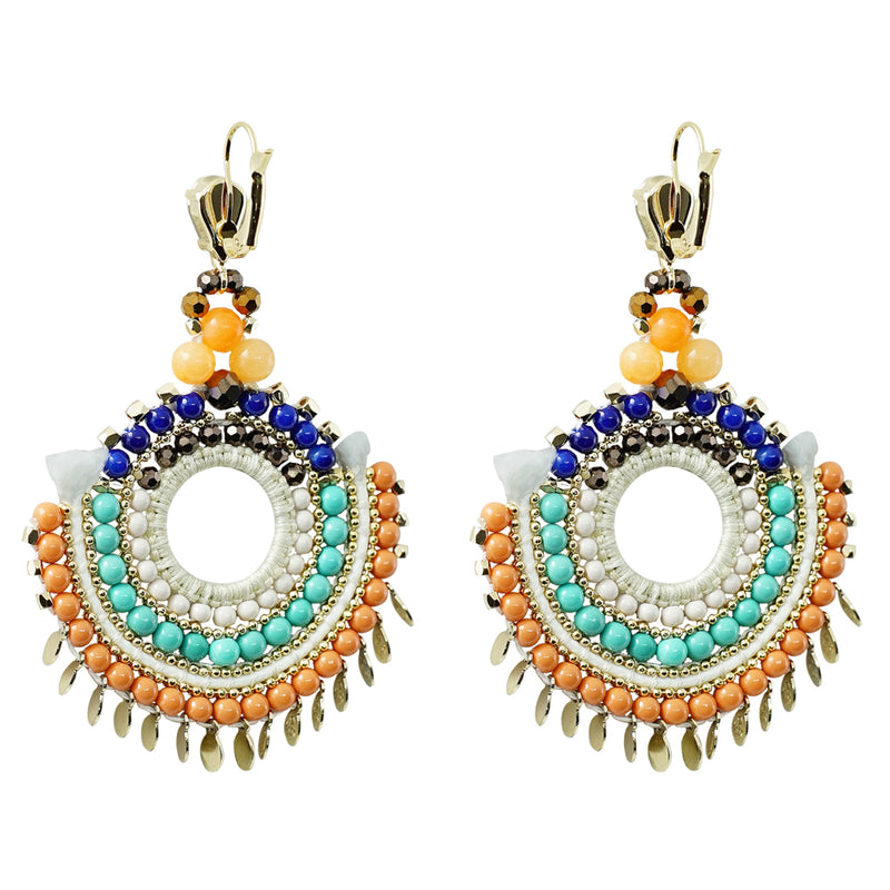 Multicolored Crystal Earrings w/ Golden Details