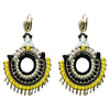 Black, Yellow & White Crystal Earrings w/ Golden Details