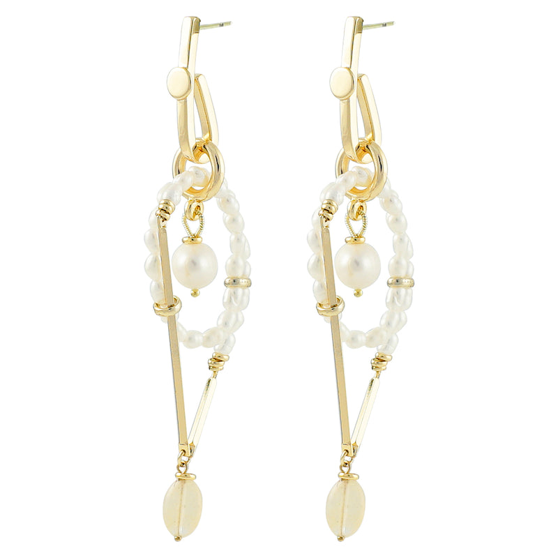 Golden Earrings w/ Cultured Pearls & Stone