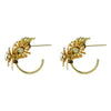 Golden Earrings w/ Crystal Flowers