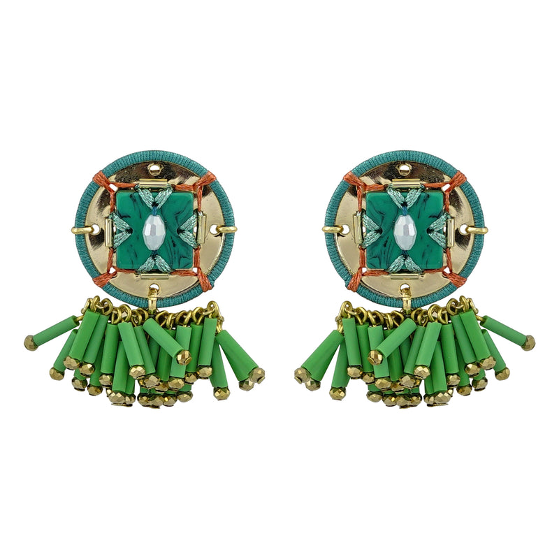 Golden & Green Earrings w/ Details