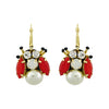 Multicolored Crystal & Pearl Bug Earrings