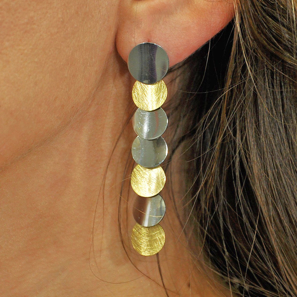 Silver & Golden Circle Earrings