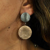 Silver & Copper Metal Earrings