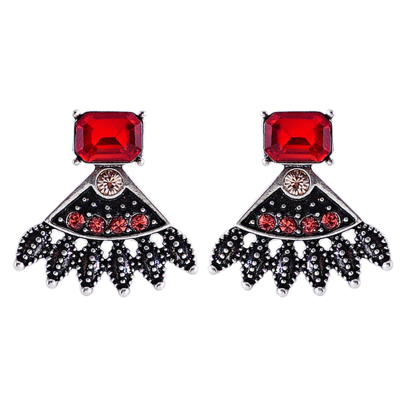 Silver Earrings w/ Red Crystals
