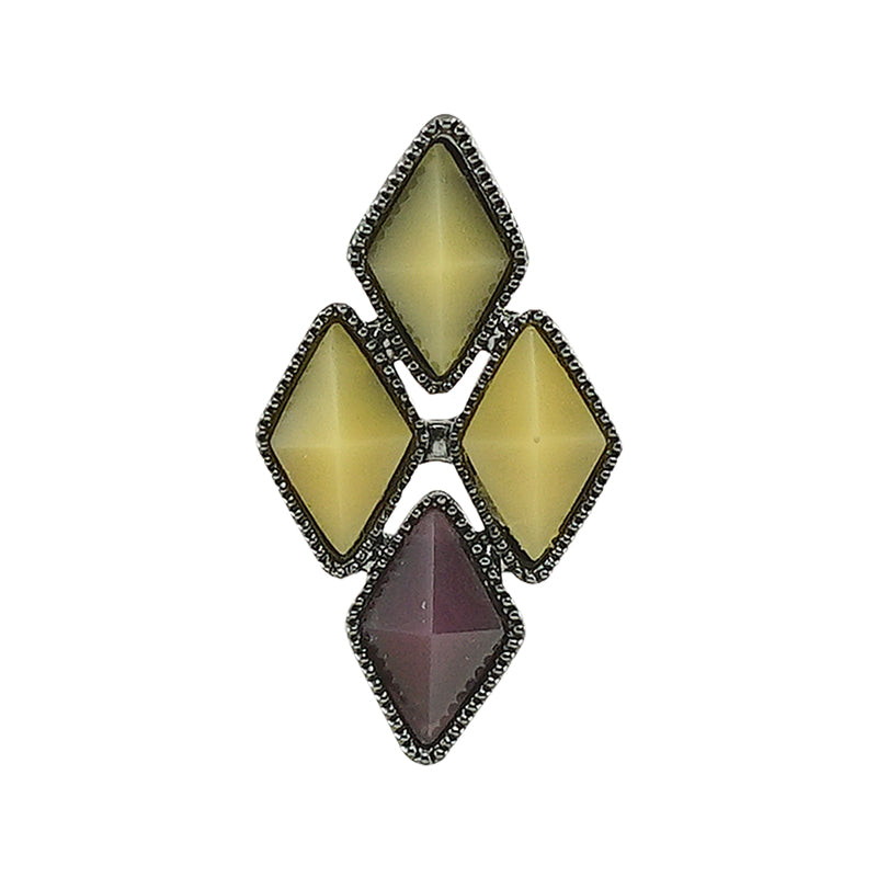 Gunmetal Earring w/ Yellow & Purple Crystals