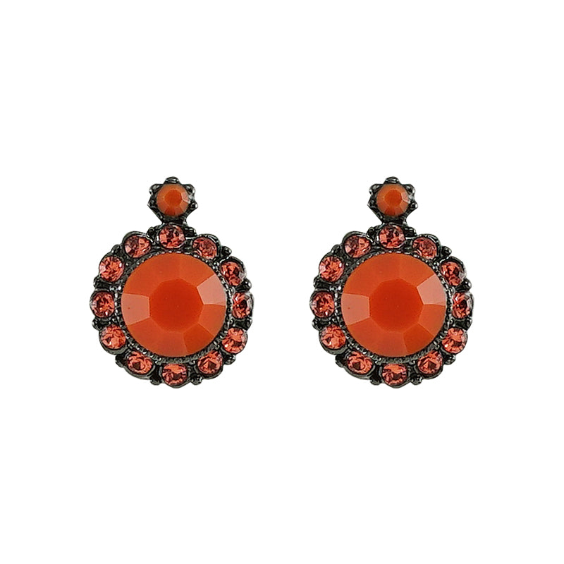 Orange & Red Crystal Earrings