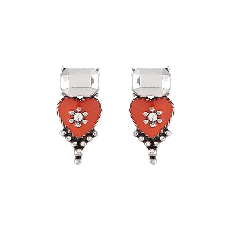 Silver Crystal Earrings w/ Orange Enamel