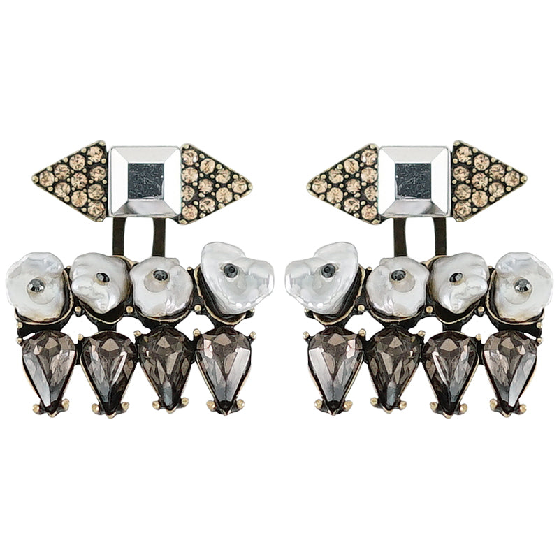 Golden & Black Crystal Earrings w/ Mother of Pearl