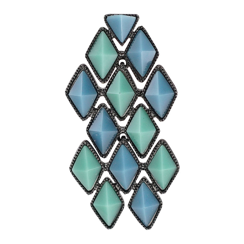 Blue & Green Crystal Earring