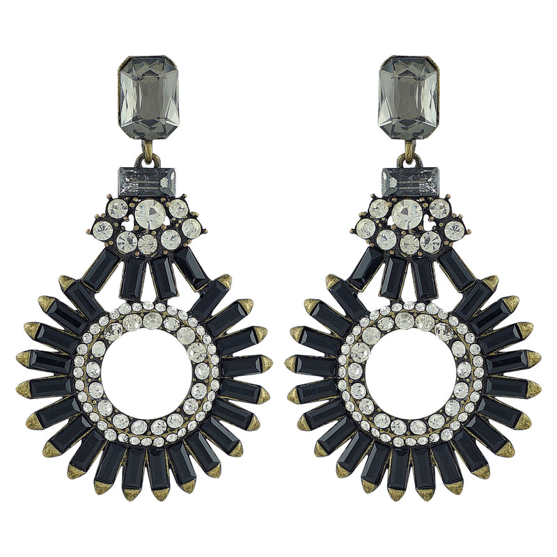 Brass Earrings w/ Black & Silver Crystals