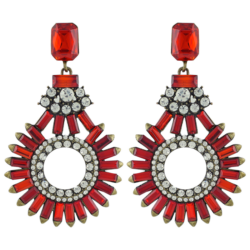 Brass Earrings w/ Red Crystals
