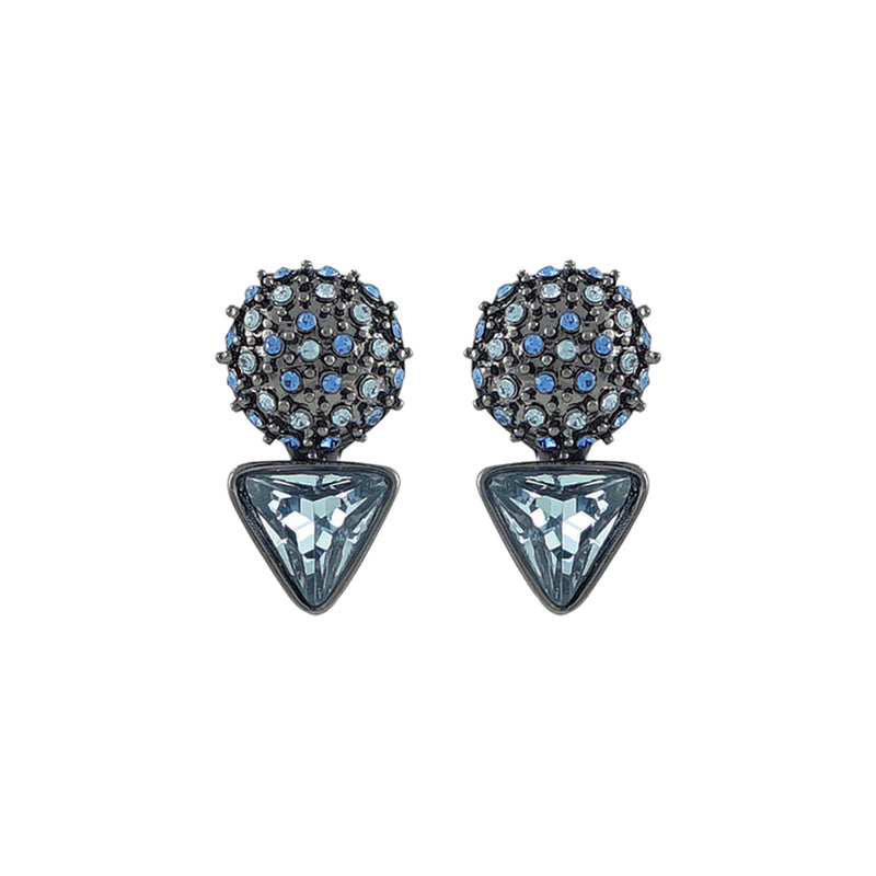 Gunmetal Earrings w/ Blue Crystals