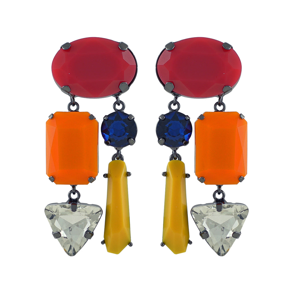 Multicolored Resin Earrings w/ Crystals