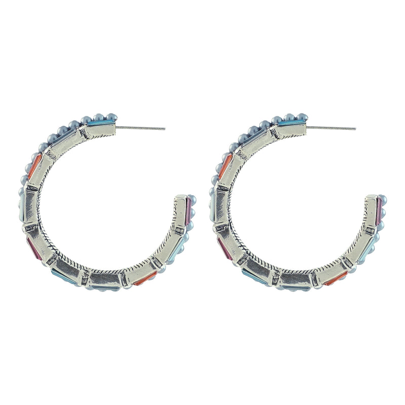 Multicolored Crystal Hoops w/ Cultured Pearls