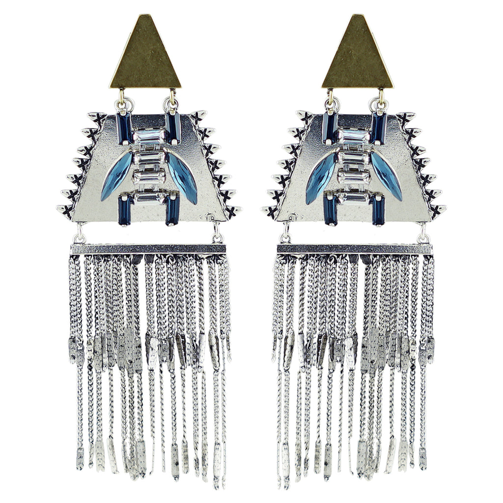 Silver & Brass Plated Earrings w/ Crystals