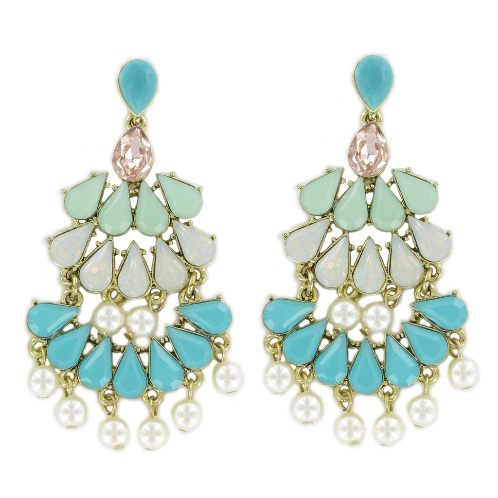 Turquoise & Light Green Crystals Earrings