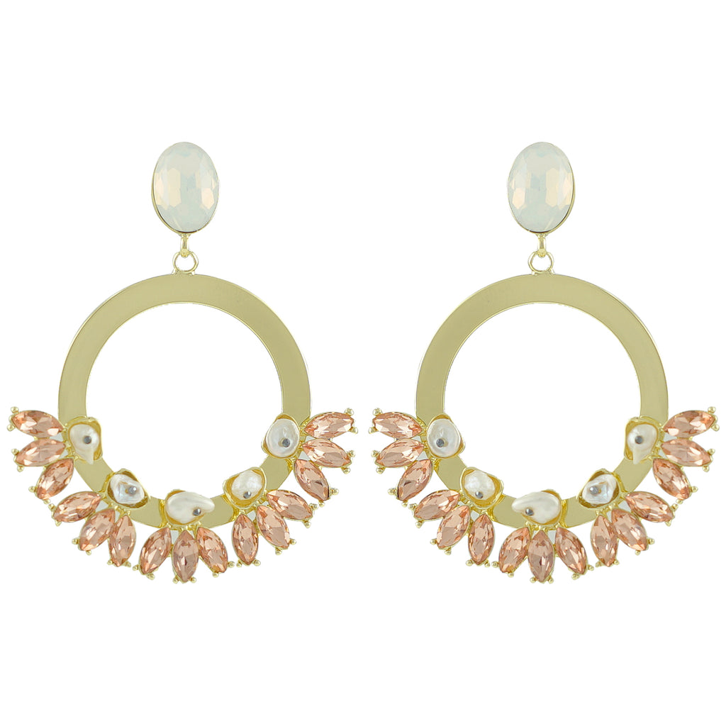 Golden Earrings w/ Crystals & Mother of Pearl