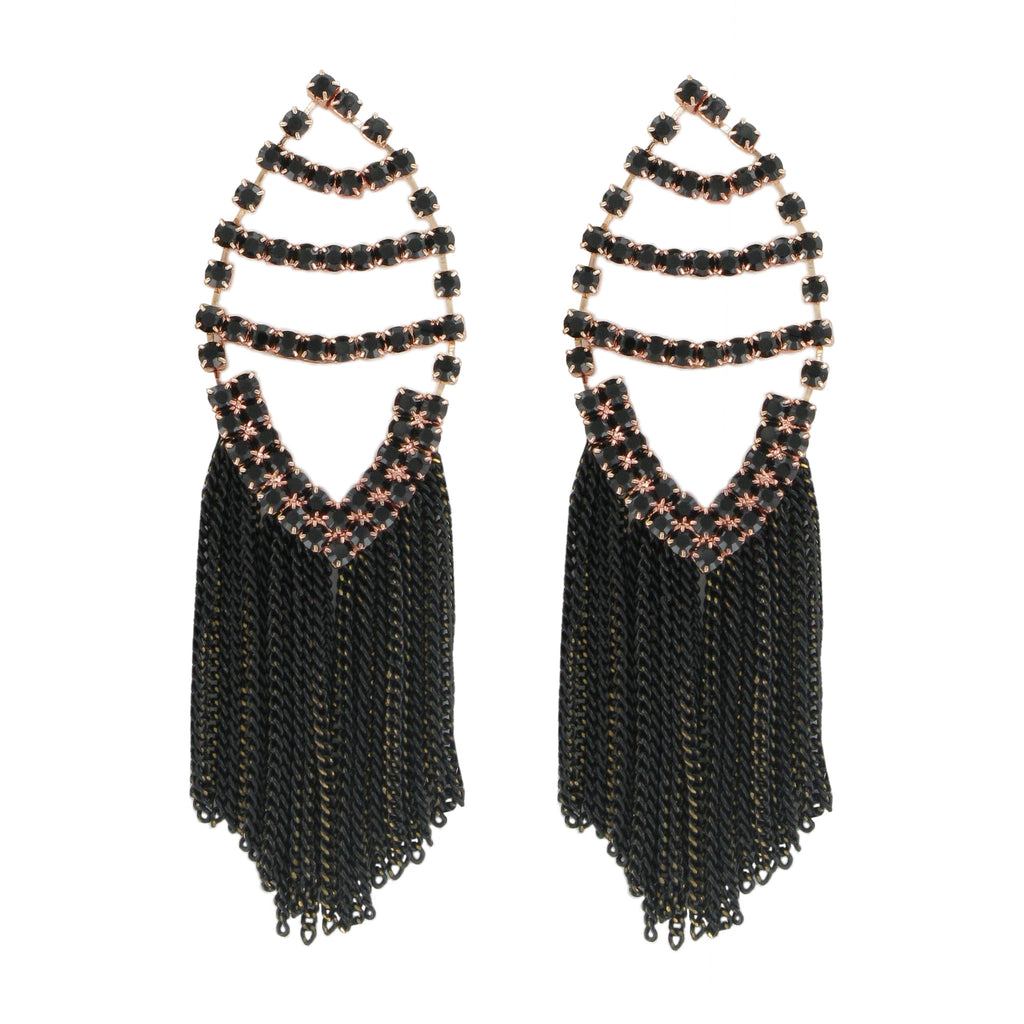 Black Crystals Earrings with Chains