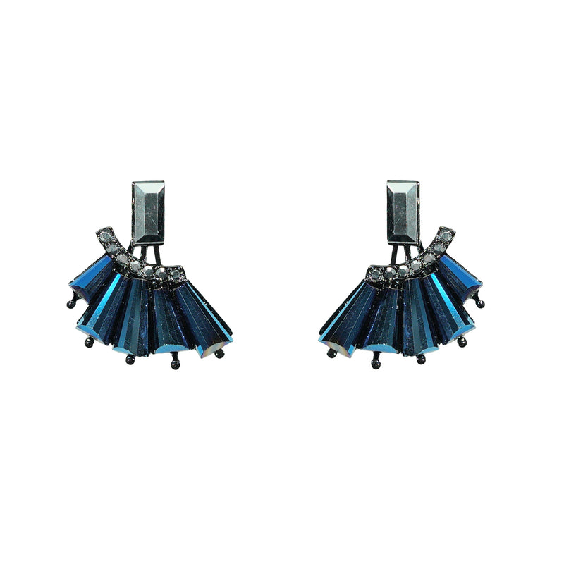 Blue and Grey Crystal Earrings