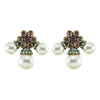 Multicolored Crystal Earrings w/ Cultured Pearls