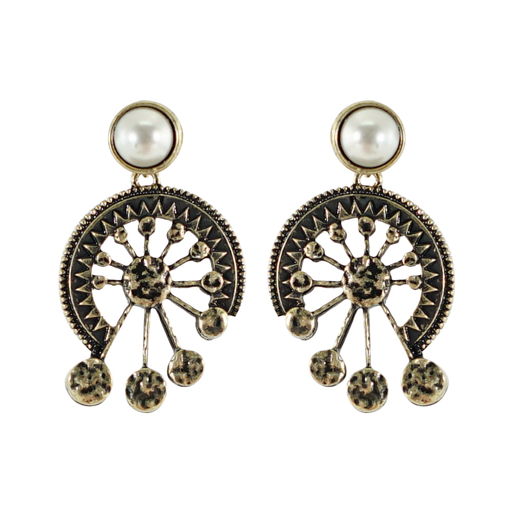 Brass Earrings with Pearl