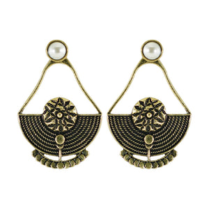 Brass Earrings w/ Pearl