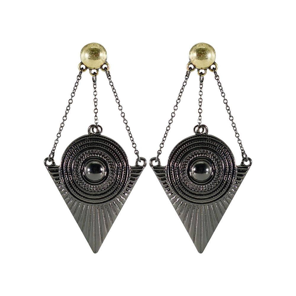 Gunmetal Earrings w/ Chains