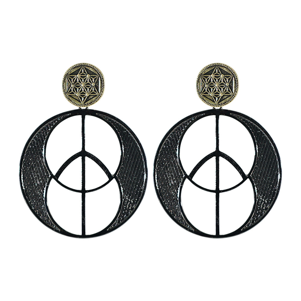 Gunmetal and Brass Earrings
