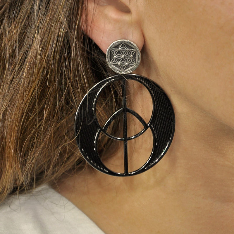 Gunmetal & Silver Earrings