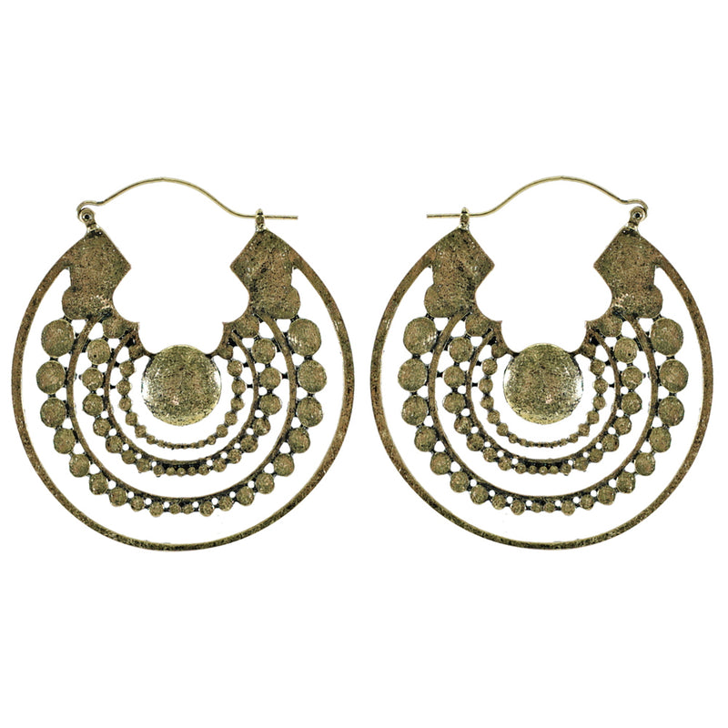Round Brass Earrings