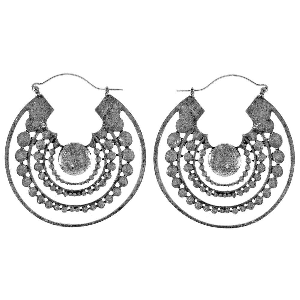 Round Silver Earrings
