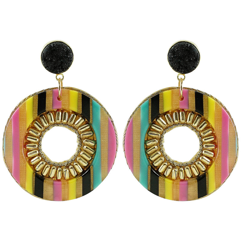 Multicolored Resin Earrings w/ Black Stone