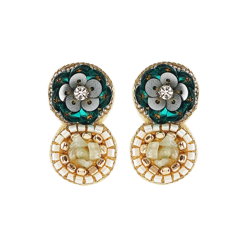 Flower Earrings w/ Green Stones