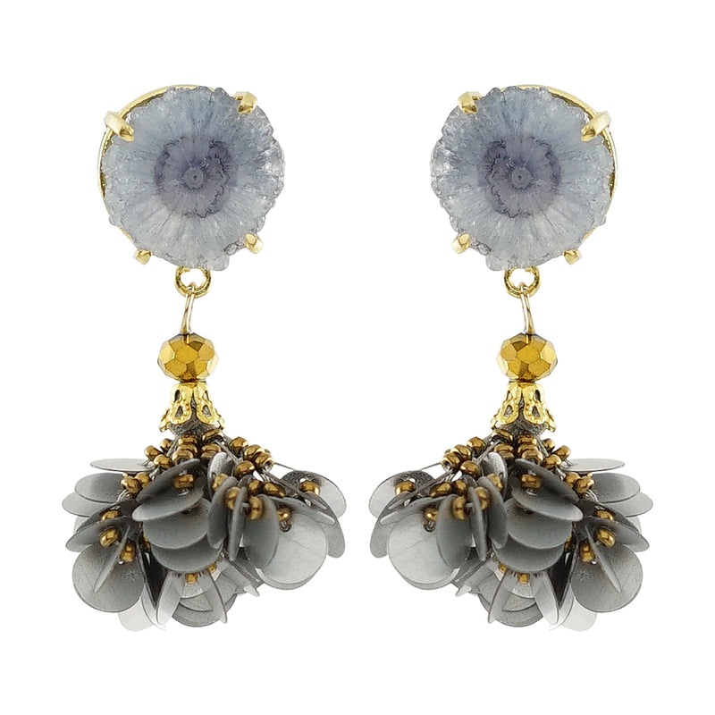Golden Earrings w/ grey Stone and Sequins