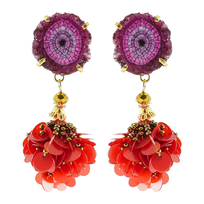 Golden Earrings w/ Purple Stone and Sequins