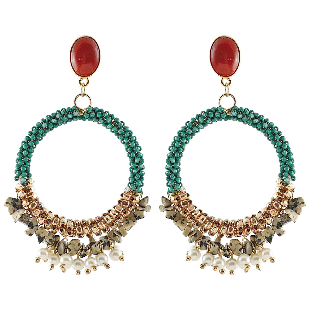 Round Earrings w/ Stones and Beads